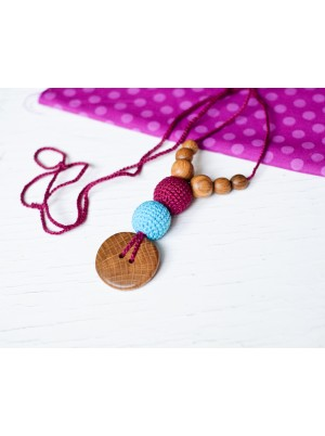 KangarooCare Best Babywearing necklace turquoise & bright pink with Oak