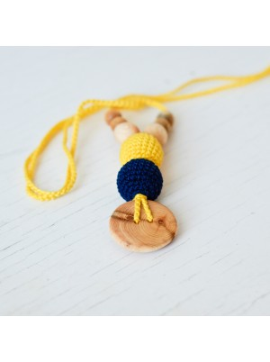 KangarooCare Best Babywearing necklace Yellow & Navy with Juniper