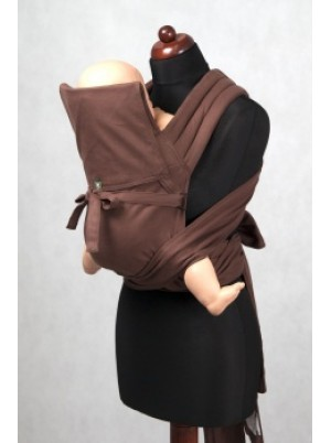 MEI-TAI carrier Mini, broken-twill weave - 100% cotton - with hood, Chestnut