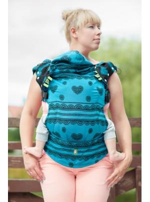 Ergonomic Carrier, Baby Size, jacquard weave 100% cotton - wrap conversion from DIVINE LACE, Reverse - Second Generation